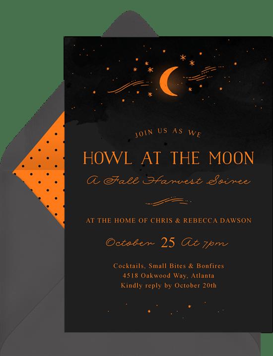 howl at the moon invitations greenvelope com