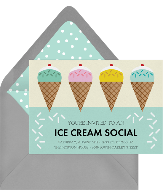 ice cream social invitation in blue