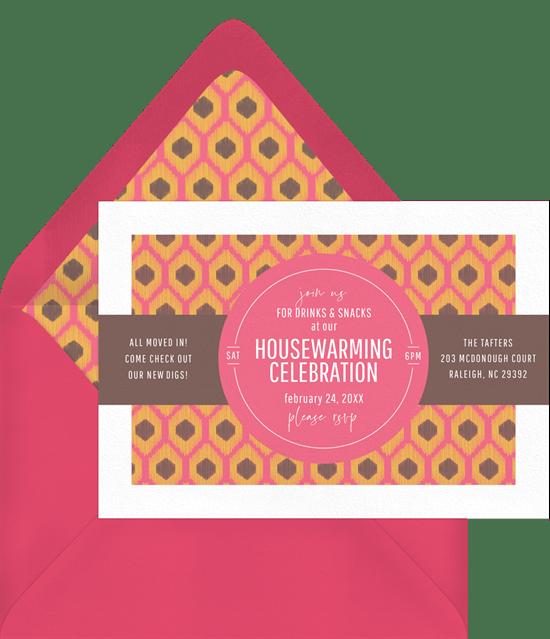 Ikat Housewarming Invitations in Pink Greenvelopecom