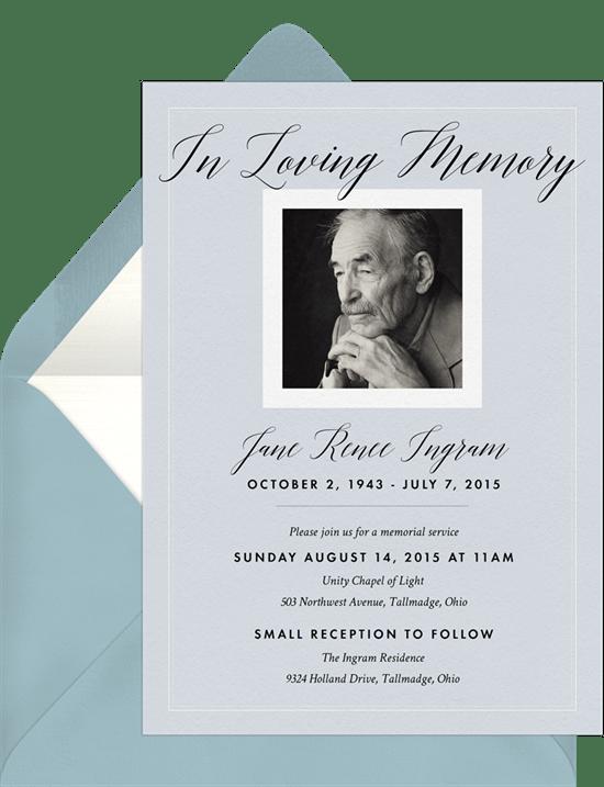 In Loving Memory Invitations Blue