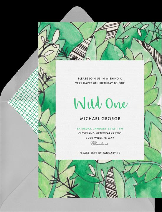 in the jungle invitations in green greenvelope com