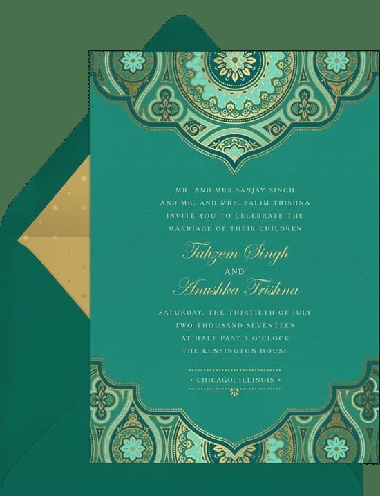 Indian Inspired Invitations In Green Greenvelope Com