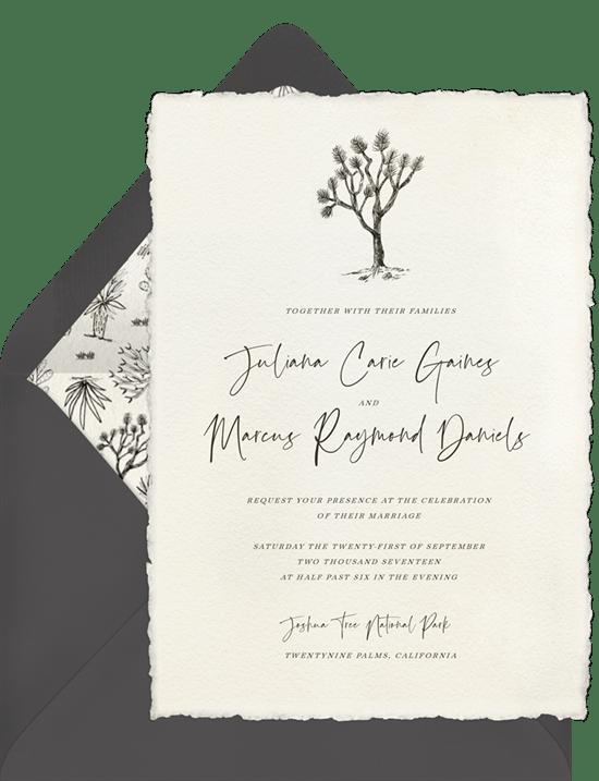Joshua Tree Invitations In Creme