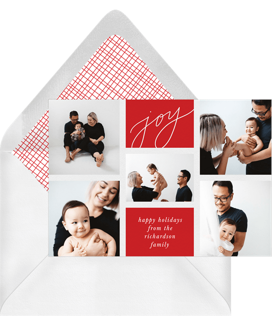 'Joy Grid' Holiday Greetings Card in Red