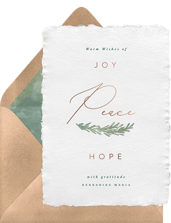 'Joy Peace Hope' Business Holiday Greetings Card in White