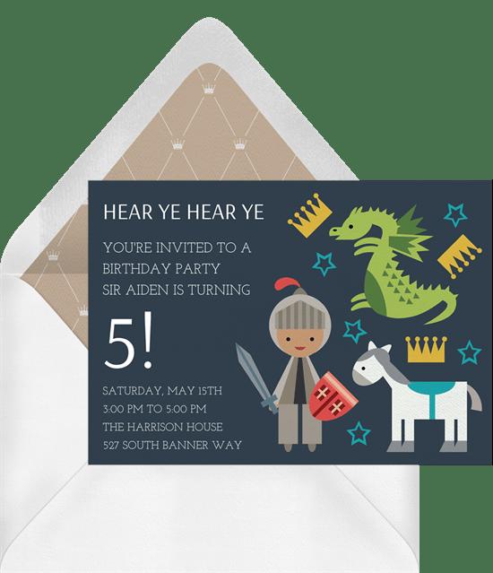 Knight in Armor Invitations in Grey – Knight Birthday Invitations