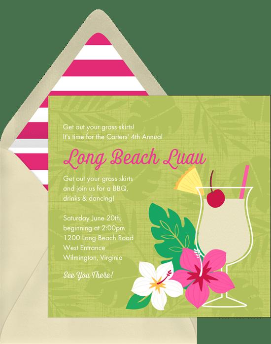 Leafy Luau Invitations Greenvelope Com