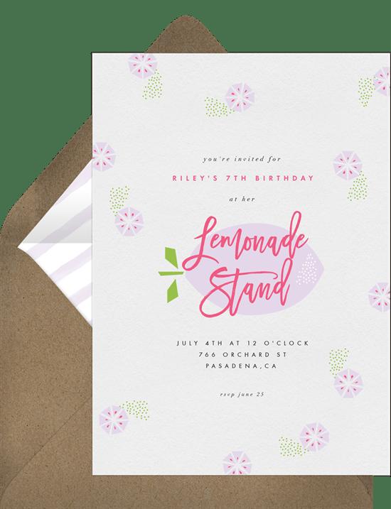 Lemonade Stand Invitations In Purple Greenvelope Com