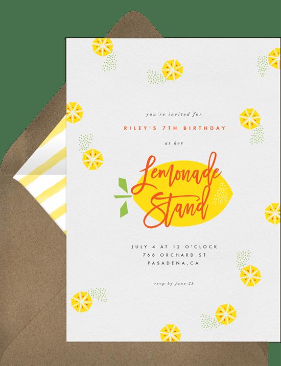 lemonade stand invitation
