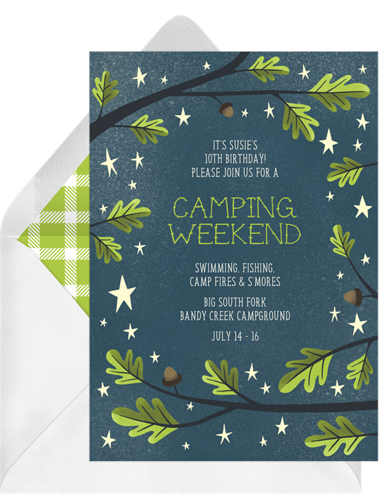 let s go camping invitations greenvelope com