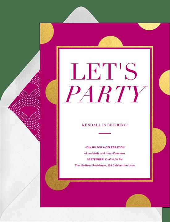Let S Party Polka Dot Invitations In Purple Greenvelope Com