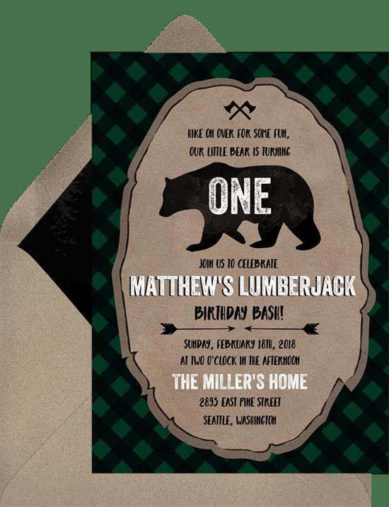 Lumberjack first birthday invitation Printed Lumberjack invitation-Lumberjack baby shower card Christmas cards Buffalo plaid invitation