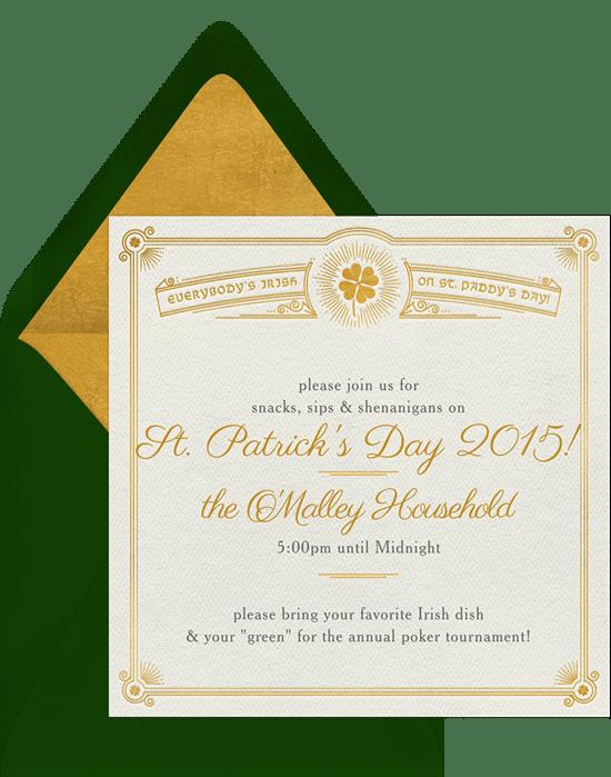 luck o the irish invitations in creme greenvelope com