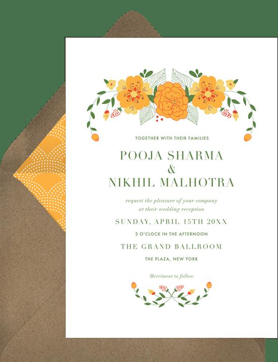 marigold garland invitations in yellow greenvelope com