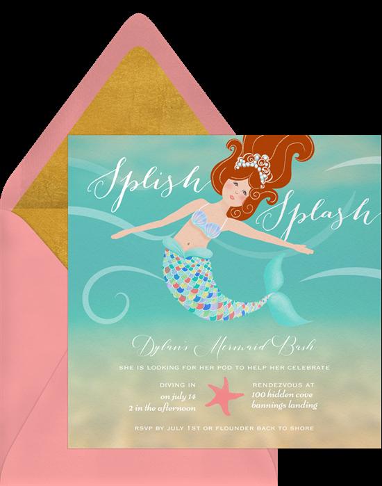 Marvelous Mermaid Invitations Greenvelope Com