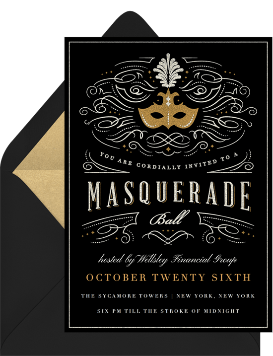 Masquerade Ball Invitations In Gold Greenvelope Com