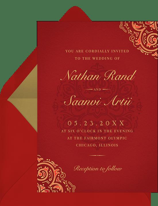 Mehndi Invitations in Red Greenvelopecom