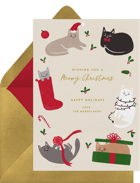 'Meowy Christmas' Holiday Greetings Card in Red