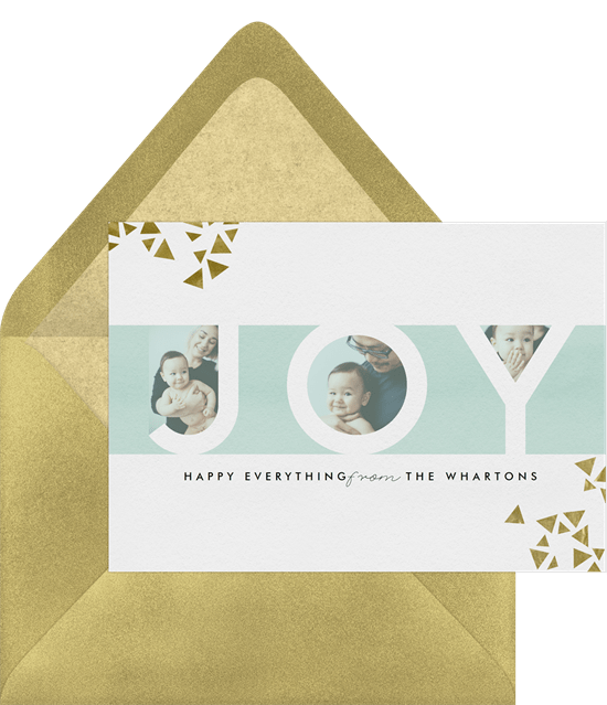 'Metallic Joy' Holiday Greetings Card in Blue