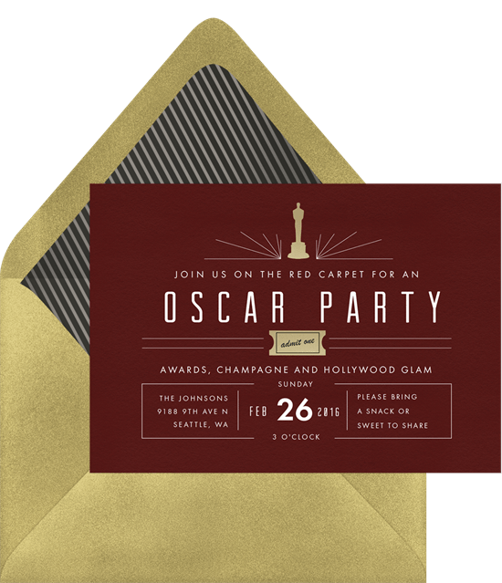 mod oscar party invitations in red | greenvelope, Party invitations