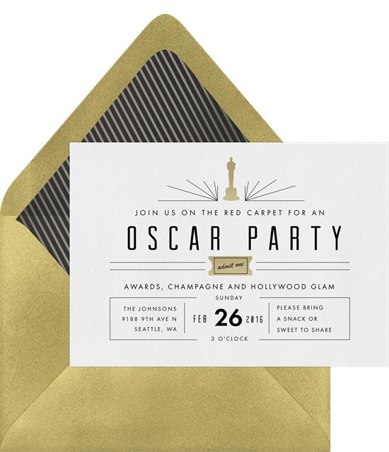 mod oscar party invitations in white greenvelope com