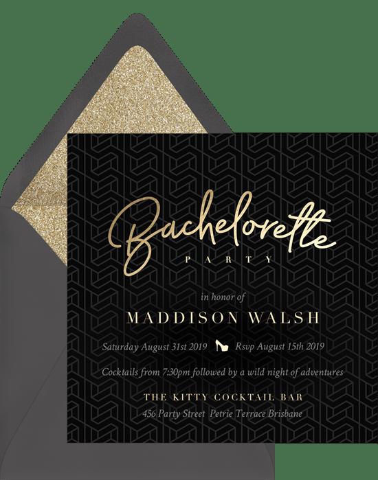 modern bachelorette invitations in gold greenvelope com