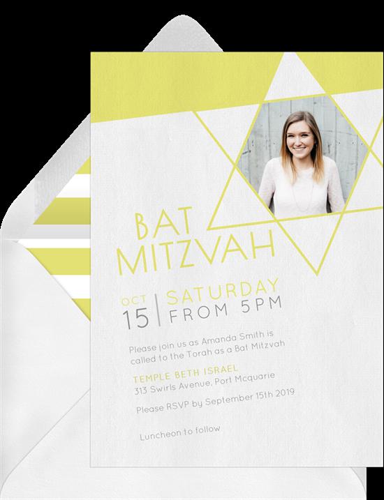 Modern Bat Mitzvah Invitations Greenvelopecom