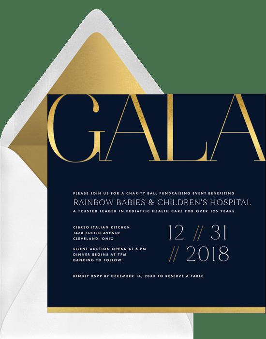 modern gala invitations in blue greenvelope com