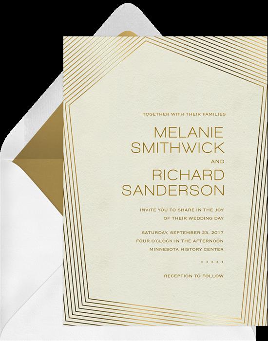 Modern Gold Border Invitations In Creme Greenvelope Com