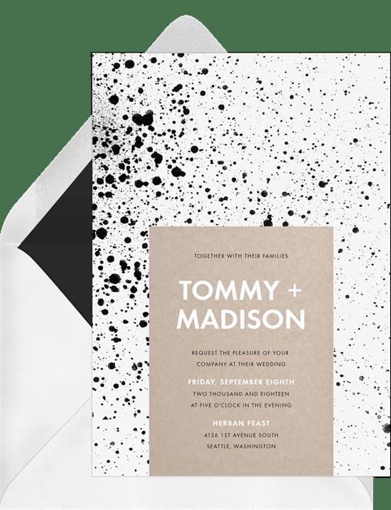 modern paint splatter invitations in black greenvelope com