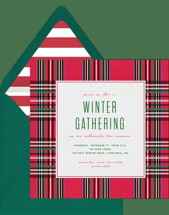 modern plaid invitations in red greenvelope com