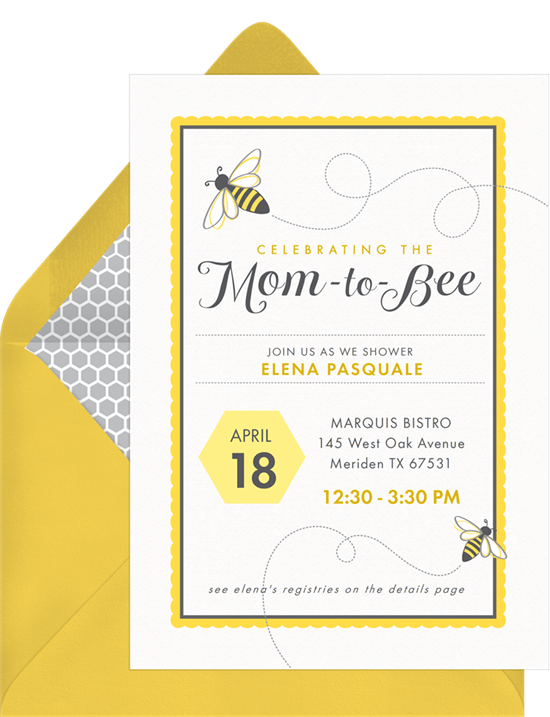 mom to bee invitations in yellow greenvelope com