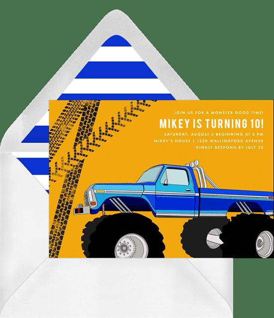monster truck invitations in blue greenvelope com