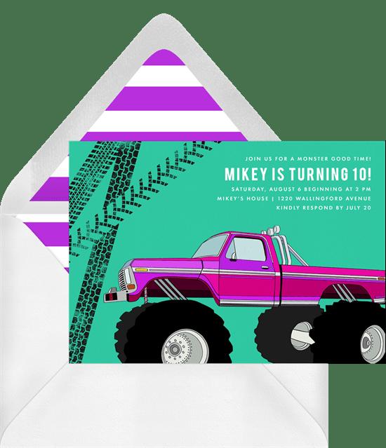 monster truck invitations in purple greenvelope com
