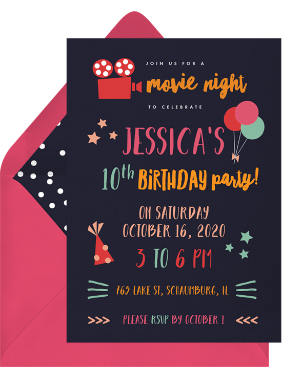 movie night invitations greenvelope com