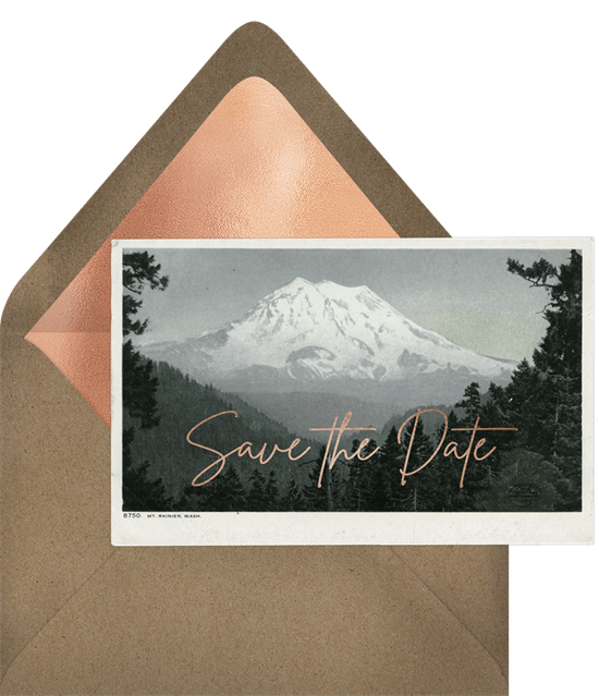 'Mt. Rainier' Wedding Save The Date in Green