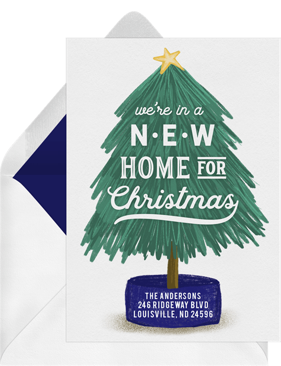 New Home For Christmas Cards In Blue