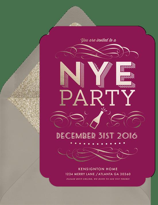 nye bottle invitations in purple greenvelope com