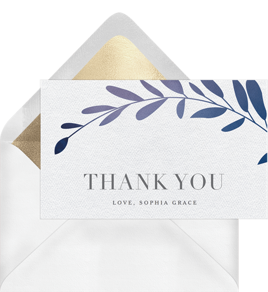ombre laurels thank you note in blue