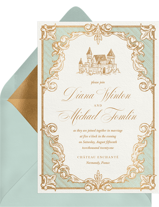 Once Upon A Time Invitations In Green Greenvelope Com