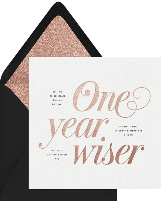 one year wiser invitations in pink greenvelope com