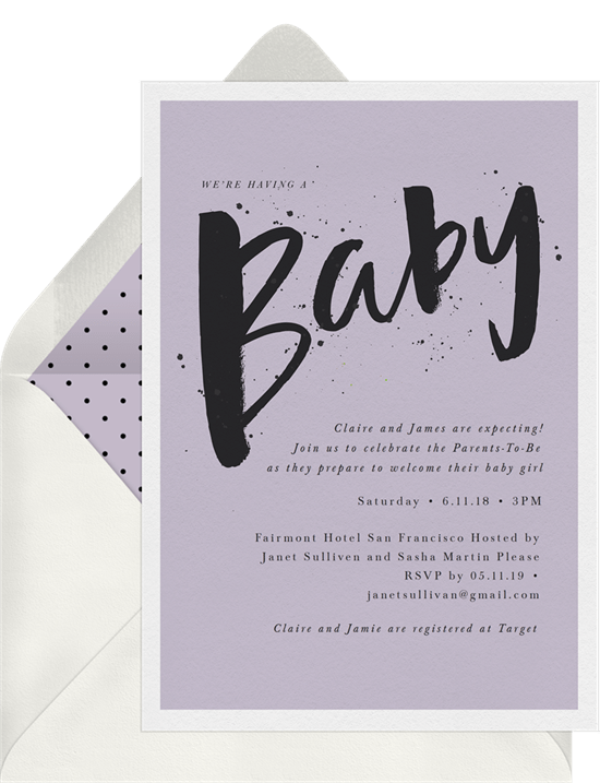 Painted Baby Invitations In Purple Greenvelope Com
