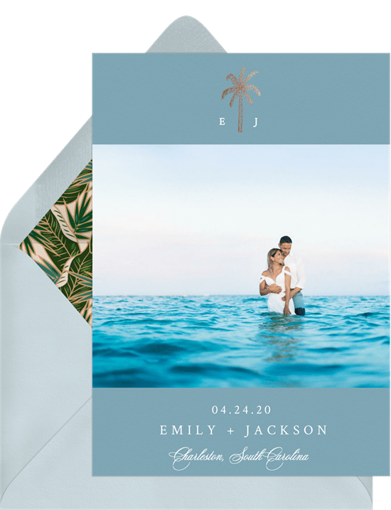 'Palm Tree' Wedding Save The Date in Blue
