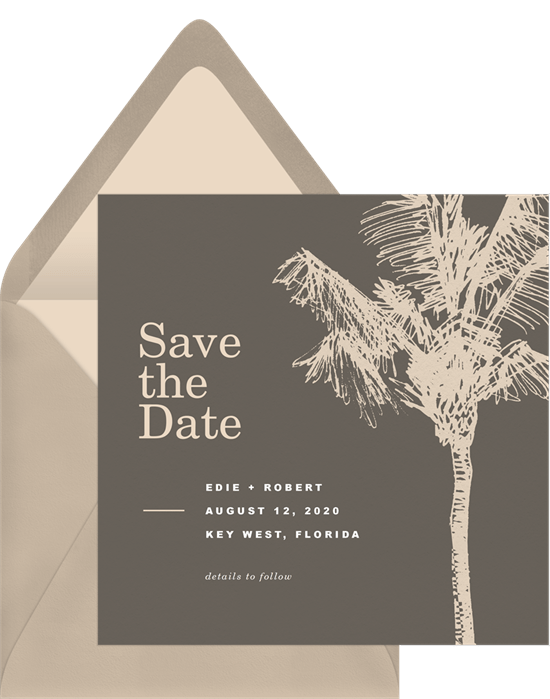Palm Tree Sketch Save The Dates In Brown Greenvelope Com