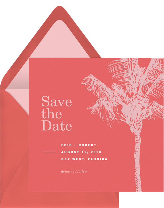 Palm Tree Sketch Save The Dates Greenvelope Com