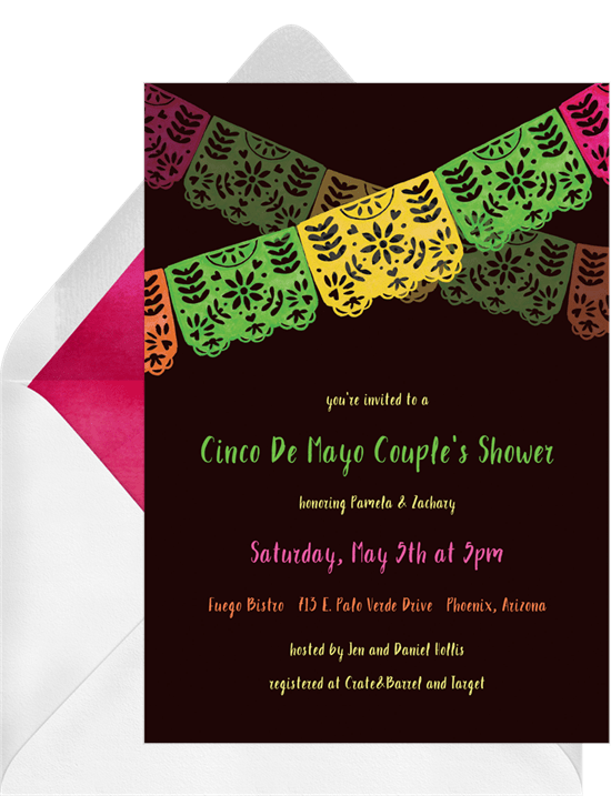 Papel Picado Banner Invitations In Black Greenvelope Com