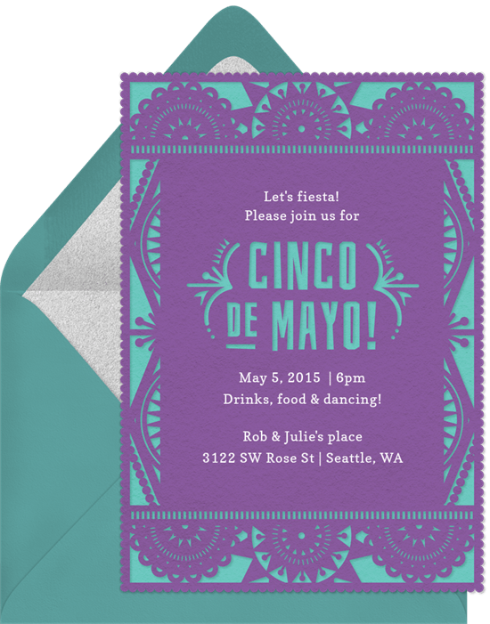 Papel Picado Invitations In Purple Greenvelope Com
