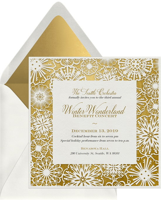 paper snowflakes invitations in gold greenvelope com