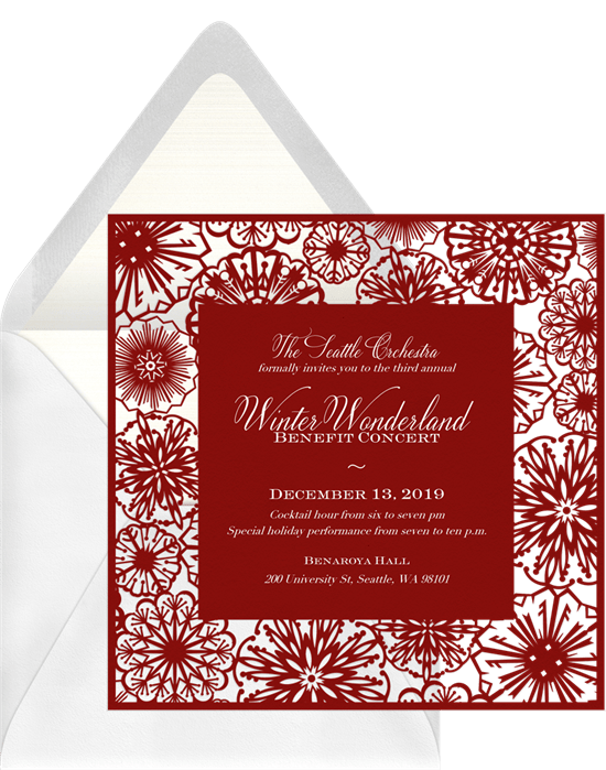 paper snowflakes invitations in red greenvelope com