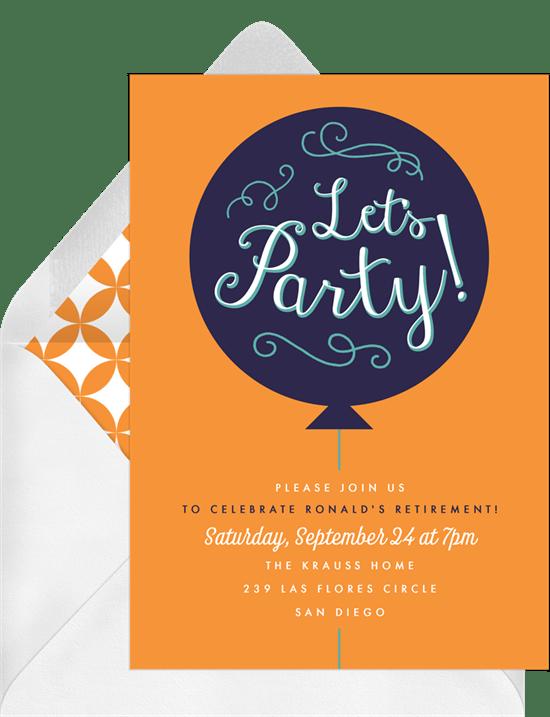 party balloon invitations in orange greenvelope com